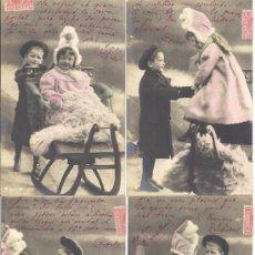 Postales: PS3757 COLECCIÓN DE 6 POSTALES FOTOGRÁFICAS DE PAREJA DE NIÑOS. COLOREADA. CIRCULADAS 1903. Lote 36332325