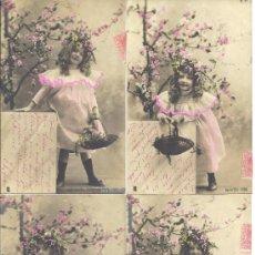 Postales: PS3758 LOTE DE 6 DIVERTIDAS POSTALES FOTOGRÁFICAS DE NIÑA. COLOREADA. SERIE 132. CIRCULADAS 1903. Lote 36332353