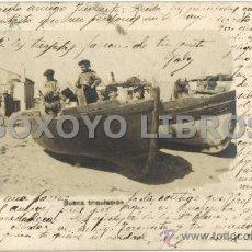 """Postales: POSTAL DE NIÑOS EN UNA BARCAS CON LA LEYENDA """"BUENA TRIPULACIÓN"""". ESCRITA Y CIRCULADA EN 1904. Lote 37196739"""