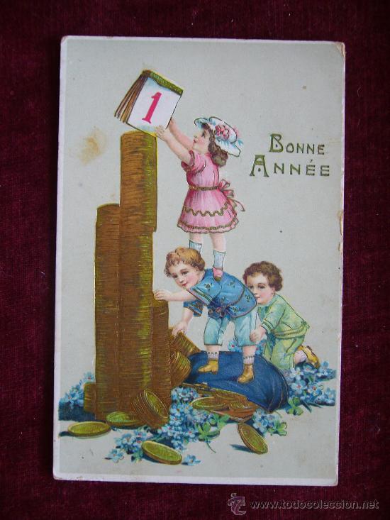 POSTAL NIÑOS CON MONEDAS. BONNE ANNÉE. AÑO 1913. PRINTED IN GERMANY. JMPORT. (Postales - Postales Temáticas - Niños)