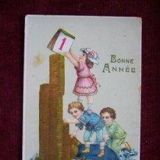 Postales: POSTAL NIÑOS CON MONEDAS. BONNE ANNÉE. AÑO 1913. PRINTED IN GERMANY. JMPORT.. Lote 36573731
