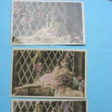 Postales: TRES POSTALES DE NIÑA EN JARDÍN FLORES.. Lote 38123179
