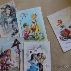Postales: LOTE DE 5 POSTALES ANTIGUAS. PAREJITAS. NIÑOS.. Lote 38986266
