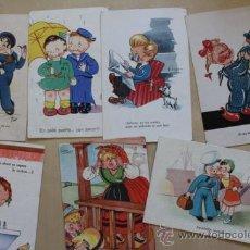 Postales: LOTE DE 7 POSTALES ANTIGUAS. DE CARICATURAS INFANTILES. . Lote 38997586