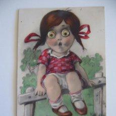 Postales: POSTAL INFANTIL. NIÑA CON OJOS MÓVILES. CIRCULADA EN 1926.. Lote 39983072