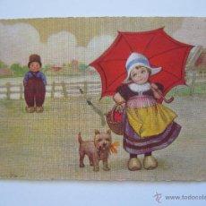 Postales: POSTAL INFANTIL. NIÑOS CON PERRO. CIRCULADA 1927. . Lote 40029692