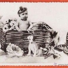 Postales: POSTAL - NIÑO CON ANIMALES Y FLORES - FOTOGRAFICA - ESCRITA - AÑOS 40 - RD27. Lote 40715936