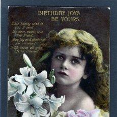 Postales: POSTALES ANTIGUAS DE NIÑOS. BONITA TARJETA POSTAL INFANTIL NIÑA, TEMA NIÑAS. CIRCULADA 1909. Lote 40730220