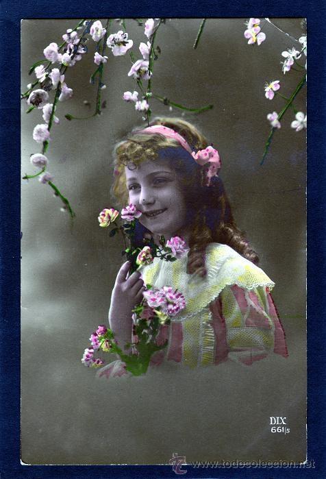 POSTALES ANTIGUAS DE NIÑOS. BONITA TARJETA POSTAL INFANTIL NIÑA, TEMA NIÑAS. CIRCULADA 1917 (Postales - Postales Temáticas - Niños)