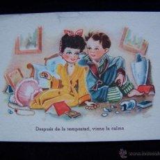 Postales: POSTAL NIÑOS CIRCULADA 1952 ED CMB SERIE Nº 90 DESPUÉS DE LA TEMPESTAD VIENE LA CALMA. Lote 41307536