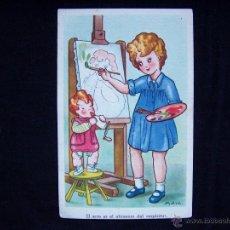 Postales: POSTAL NIÑA PINTANDO ILUSTRADOR M. ARA PROPIEDAD EDICIONES PABLO DÜMMATZEN BARCELONA SERIE 1550. Lote 41309002