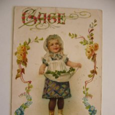 Postales: POSTAL INFANTIL. TROQUELADA. NIÑA. FLORES. CIRCULADA 1906.. Lote 41526059