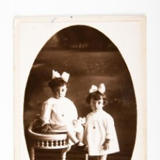 Postales: POSTAL DE NIÑAS, FOTOGRAFIA EN BLANCO Y NEGRO, ESTUDIO AUDOUARD. Lote 42552265