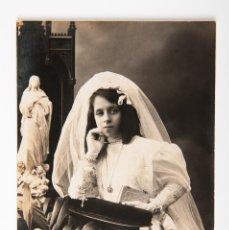 Postales: POSTAL DE NIÑA PRIMERA COMUNION, FOTOGRAFIA EN BLANCO Y NEGRO, ESTUDIO MARINE. Lote 42552382