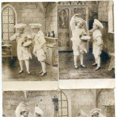 Postales: NIÑOS COCINEROS. COCINA. SIETE POSTALES ALEMANAS REVERSO SIN DIVIDIR B.N.K. 1903. Lote 43490596