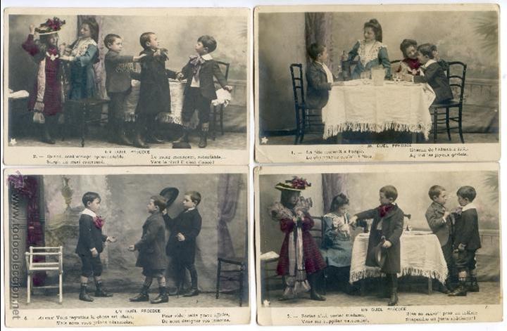 Postales: Serie francesa Un duel precoce. Duelo, esgrima, interpretada por niños, reverso sin dividir - Foto 2 - 43490682