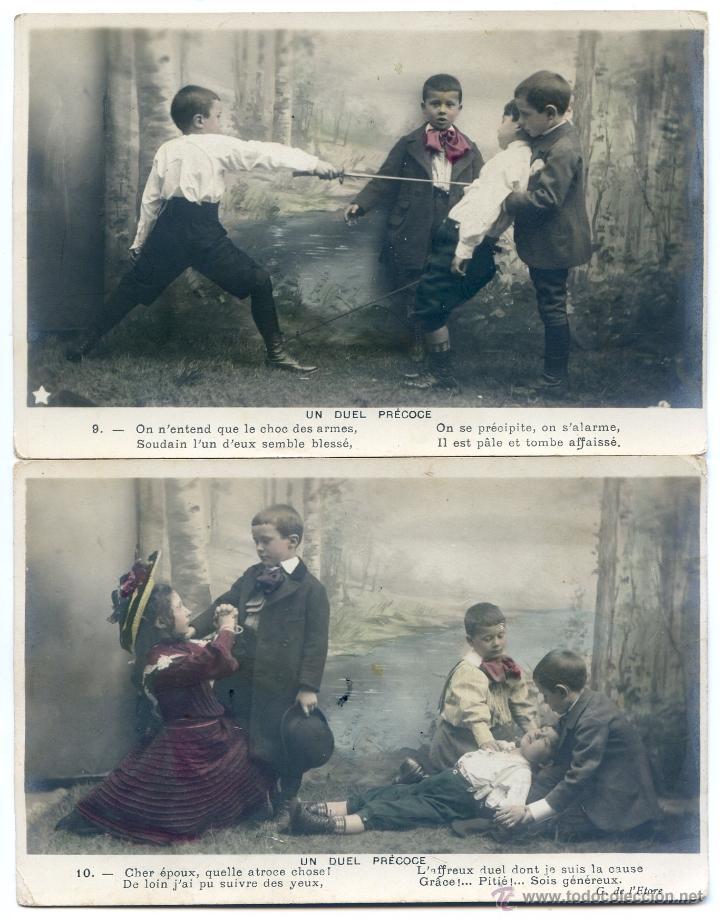 Postales: Serie francesa Un duel precoce. Duelo, esgrima, interpretada por niños, reverso sin dividir - Foto 3 - 43490682