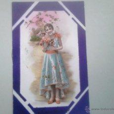 Postales: POSTAL ANTIGUA DE JOVEN ELEGANTE FLORES A BADAJOZ.. Lote 43582208