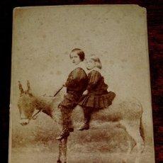 Postales: FOTOGRAFIA ALBUMINA SIGLO XIX DE DOS NIÑOS EN UN BURRO, FOTOGRAFIA DE EDG. DEBAS DE MADRID, MIDE 16,. Lote 45481554