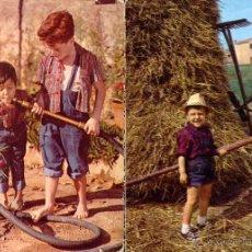 Postales: FELICITACION INFANTIL JUGANDO A AGRICULTORES 2 POSTALES CIRCULADA.. Lote 45754043
