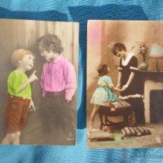 Postales: LOTE 2 POSTALES NIÑOS MUY ANTIGUAS . Lote 47429994