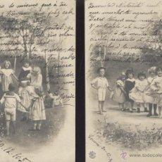 Postales: JUEGOS DE NIÑOS. DOS POSTALES, BLANCO Y NEGRO, CIRCULADAS EN 1905. . Lote 47987395