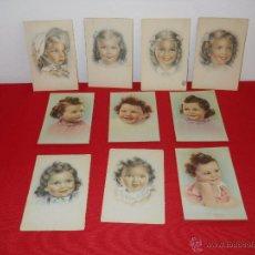 Postales: 10 POSTALES ANTIGUAS DE NIÑAS DE 14 X 9 CM. Lote 49390053