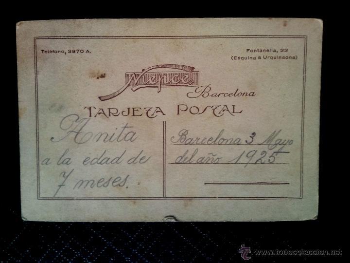 Postales: Tarjeta postal fotográfica retrato de niña estudio NIEPCE Barcelona 1925 - Foto 2 - 50496382