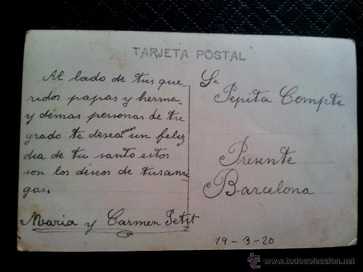 Postales: Tarjeta postal de estudio (escrita) de unos niños sentados a la mesa, Barcelona 1920 - Foto 2 - 50497188