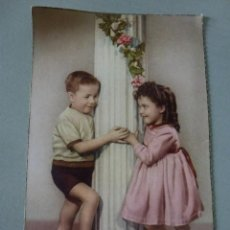 Postales: POSTAL CON FOTOGRAFIA DE NIÑOS, COLOREADA. Lote 50752859