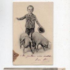 Postales: LOTE DE 2 POSTALES ANTIGUAS DE NIÑOS CON ANIMALES. ESCRITAS.. Lote 51032350