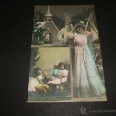 Postales: NIÑOS CON ANGEL Y ARBOL DE NAVIDAD POSTAL ANTIGUA. Lote 51172950