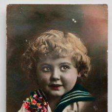 Postales: MUCHAS FELICIDADES. POSTAL COLOREADA DE NIÑO, 1931. Lote 53309155