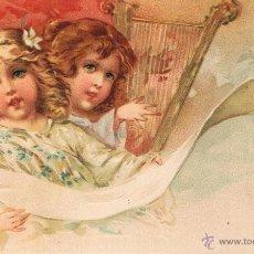 Postales: POSTAL ANGELES NIÑOS CON ARPA Y PARTITURA. UNION POSTAL UNIVERSAL. SIN CIRCULAR. Lote 53956015