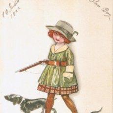 Postales: POSTAL 45-5 MAUZAN. NIÑA CAZADORA. IM. EN MILAN, ITALIA. CIRCULADA 1923. Lote 54040771