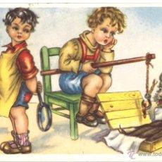 Postales: POSTAL CIRCULADA - 1955 - NIÑOS - PERRO. Lote 54127677