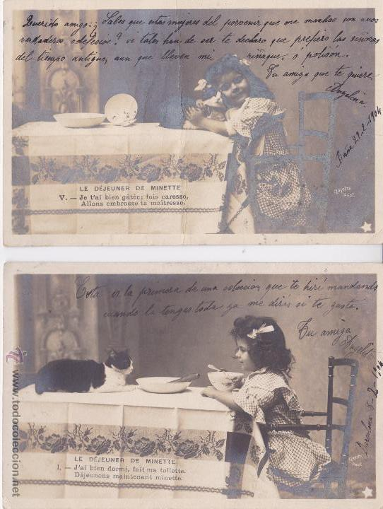 P- PAREJA DE POSTALES FOTOGRAFICAS NIÑA. LE DEJEUNER DE MINETTE: I Y V. 1904. (Postales - Postales Temáticas - Niños)