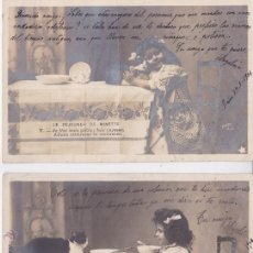 Postales: P- PAREJA DE POSTALES FOTOGRAFICAS NIÑA. LE DEJEUNER DE MINETTE: I Y V. 1904.. Lote 54557109