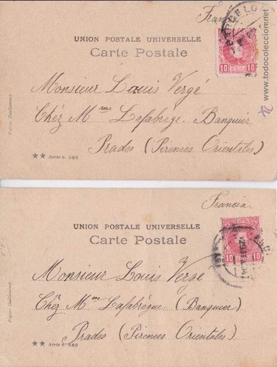 Postales: P- PAREJA DE POSTALES FOTOGRAFICAS NIÑA. LE DEJEUNER DE MINETTE: I Y V. 1904. - Foto 2 - 54557109