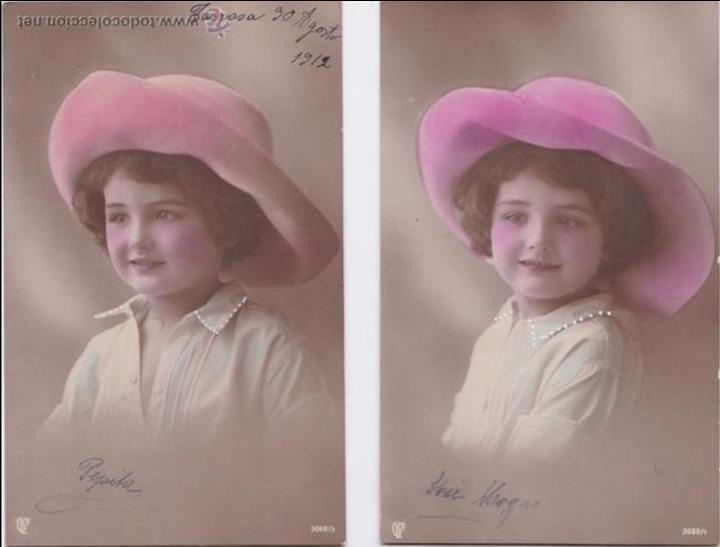 P- 4478. PAREJA DE POSTALES FOTOGRAFICAS NIÑA. Nº 3668/1, 3. (Postales - Postales Temáticas - Niños)