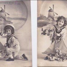 Postales: P- 4482. PAREJA DE POSTALES FOTOGRAFICAS DE NIÑO CON TRAJE DE MARINERO. . Lote 54871325