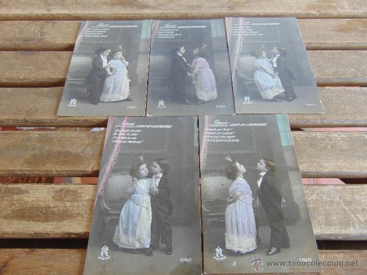 LOTE DE 5 POSTALES TARJETA POSTAL NUMERADAS DEL 1 AL 5 PEQUEÑO CONDE DE MONTECRISTO SIN CIRCULAR (Postales - Postales Temáticas - Niños)
