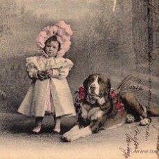 Postales: BONITA POSTAL DE NIÑO CON PERRO, CIRCULA Y FECHADA EN 1904. Lote 55004956