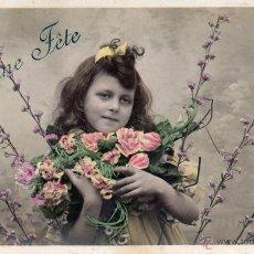 Postales: BONNE FÊTE POSTAL DE NIÑA CIRCULADA Y SELLADA EN 1906. Lote 55044621