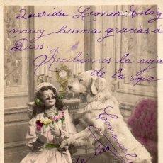 Postales: LA PRINCESSE LILETTE ET SES CHIENS - LE PREMIER LEÇON - CIRCULADA 1905. Lote 55859430