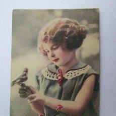 Postales: 1935 NIÑA FLORES PAJARITO. BIRD GIRL FLOWERS. . Lote 57551130