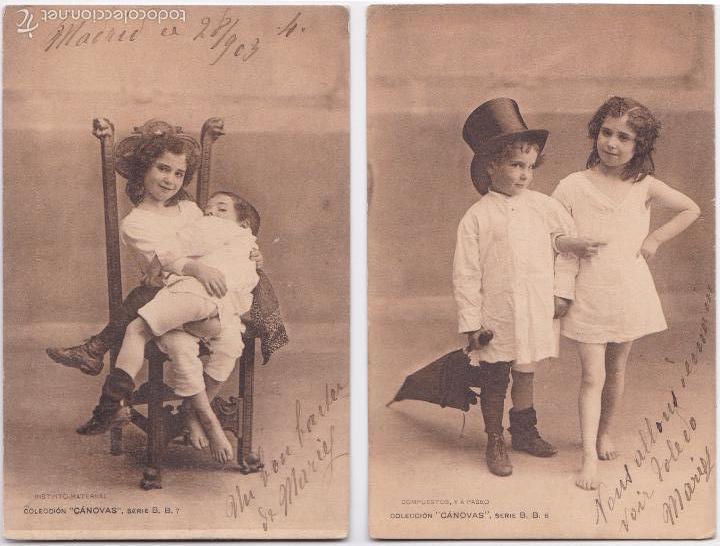 P- 5913. PAREJA DE PÒSTALES FOTOGRAFICAS CANOVAS, SERIE B B ,6 Y 7. (Postales - Postales Temáticas - Niños)