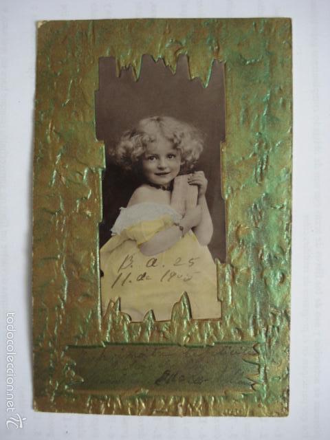 POSTAL INFANTIL TROQUELADA. ESCRITA 1905. (Postales - Postales Temáticas - Niños)