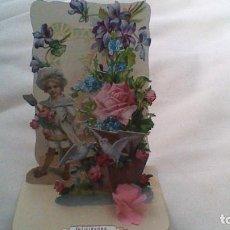 Postales: BONITA POSTAL DE NIÑO Y FLORES DESPLEGABLE. Lote 61407831
