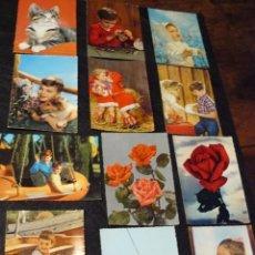 Postales: 12 POSTALES TROQUELADAS DE NIÑOS, ANIMALES Y FLORES. Lote 61692320